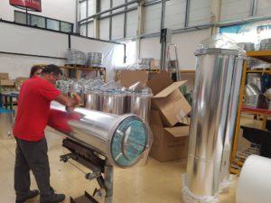 Fabrication et préparation des conduits de lumière en atelier