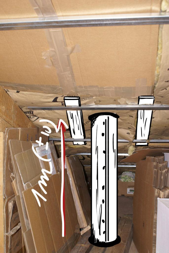 Le conduit de lumière traverse les combles : étude d'implantation du tube.